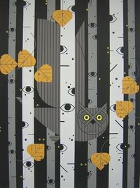 """Bark Eyes"" by Charley Harper. Really captures the feeling of a birch forest at night."