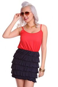 Red Navy Spaghetti Straps V Neck Textured Fabric Chic Dress